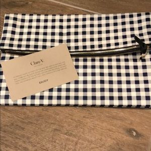 Clare V navy/cream gingham foldover leather clutch